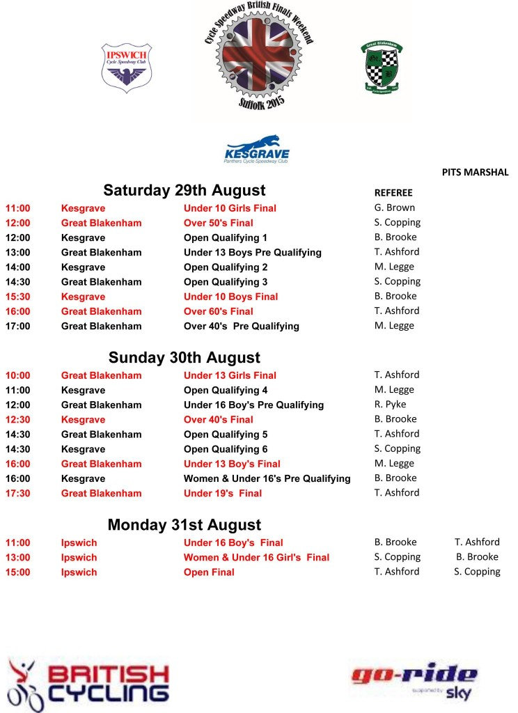 2015 finals timetable